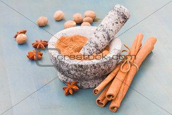 cinnamon powdered in mortar