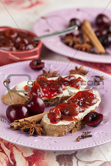 Bread with spicy cherry jam