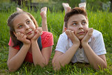 Day dreaming boy and girl