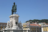 Monument on Rossio square in Lisbon Portugal