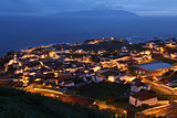 Panorama of the island of Corvo Azores Portugal at night