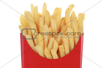 French fries in a box, isolated