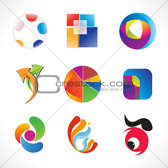 abstract multiple colorful logo template
