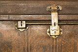 Lock of an old metal casket close up