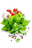 basil and fresh vegetables