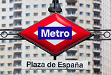 Metro Sign in Plaza de Espana Square