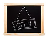 Open sign made on a blackboard
