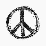 Red peace symbol created in grunge style