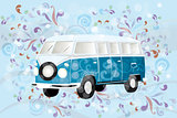 Retro van with colorful swirls