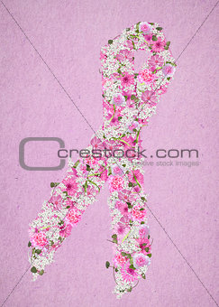 floral breast cancer awareness ribbon