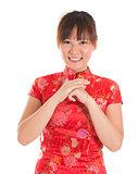 Chinese cheongsam woman greeting