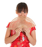 Chinese cheongsam female with fan
