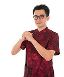 Chinese cheongsam male greeting