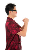 Chinese cheongsam male respecting