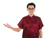 Chinese cheongsam male showing empty hand