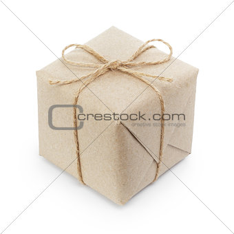 small cube box with string bow