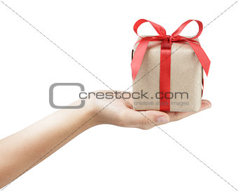 small gift box with ribbon bow in female hand