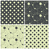 seamless patterns with polka dots and circles, vector illustration