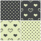 seamless patterns with hearts, vector illustration