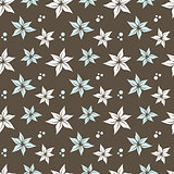 seamless pattern with flowers and dots, vector illustration