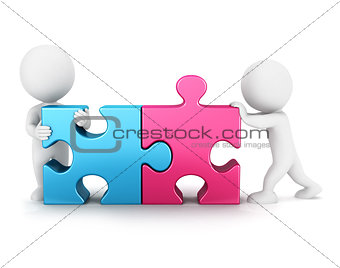 3d white people puzzle connection
