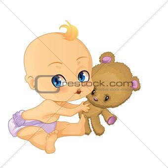 Baby Boy playing with Teddy Bear