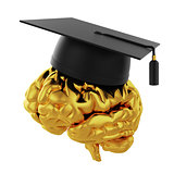 Graduation cap with golden brain