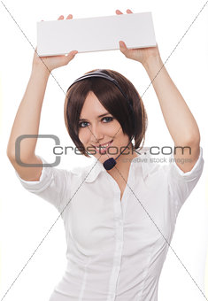 Call Center Girl with Card
