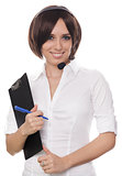 Call Center Girl with Clipboard