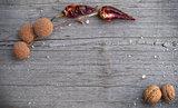 english walnut on wooden background