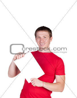 Man in a red shirt smiles and shows a white card