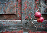 red apples on old shabby wooden background