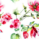 Seamless wallpaper with Geranium and Peony flowers