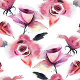 Seamless wallpaper with Roses flowers