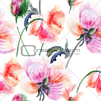 Watercolor illustration of Stylized Peony flower