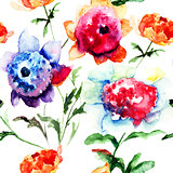 Seamless pattern with Beautiful Peony flowers
