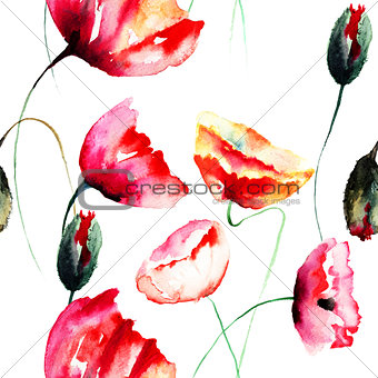 Watercolor illustration of Poppy flowers