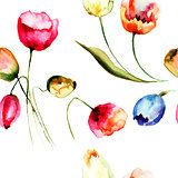 Seamless background with beautiful Tulips flowers
