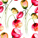 Seamless wallpaper Tulips flowers