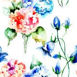 Seamless wallpaper with original flowers