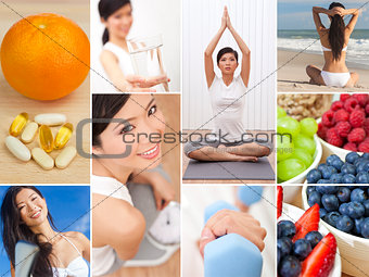 Montage Oriental Female Woman Healthy Lifestyle