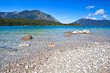 lavender lake Walchensee in Bavarian Alps