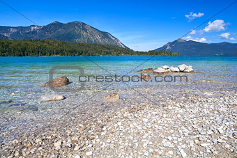 lavender lake Walchensee in Bavarian Alps