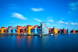 colorful buildings at Reitdiephaven on water in Groningen