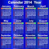 Calendar for 2014 year.