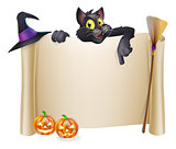 Halloween scroll with cat