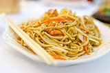 Chinese noodles with shrimps