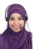 Beautiful arab woman operator with headset
