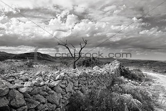 Rural landscape with mountain view near town Ares in Spain.