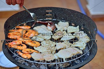 Grilled seafood on the barbecue.